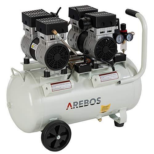 Arebos Flüsterkompressor | Kompressor | ölfrei | 2x 800 W | 50 L | 8 bar | Ansaugleistung 300 L/min | Druckminderer | inkl. Euro Schnellkupplung