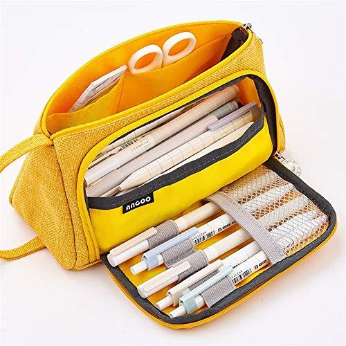Caja de almacenamiento sencilla Estudiante Oficina Estantería Corea del Sur de escritorio creativos versátil chicas de secundaria minimalistas caso de la lona bolso de la pluma del lápiz de alta capac