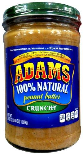 Adams 100% Natural CRUNCHY PEANUT BUTTER 36oz (3 Pack)