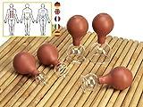 Lunata SET 5x Juego de Ventosas con Bola de Succión, Ø 20, Ø 30, Ø 40, Ø 50, Ø 60, Ventosa anticelulitica, Ventosas para un Masaje profesional