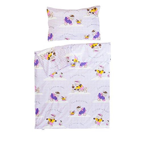 Ourson et ses Amis - Pati'Chou 100% Coton Linge de lit pour bébé (Taie d'oreiller et Housse de couette 80x120 cm)