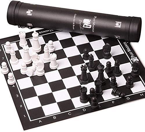 Schach-Set Brettspiel für Kinder Erwachsene Entwürfe Schach Reisen Schach Set Portable Leder Board Kunststoff Chessman Schach Puzzle Party Familie International Schachkind Erwachsene Schach 51cm Schac