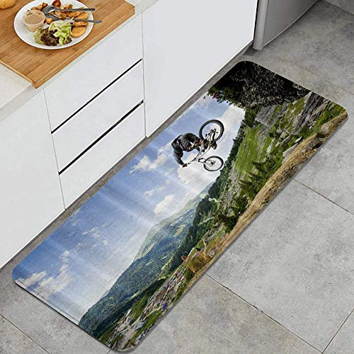 PANILUR Kitchen Mats Non slip Mats Doormats,Jumping from Rock Mountain Bike Jump Fall Bicycle,Bedroom Bathroom Area Rugs Carpet,Polyester Absorbent Floor Mats
