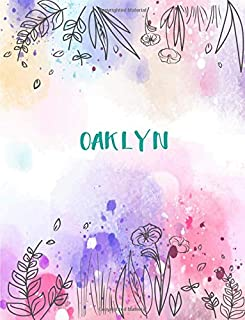 Oaklyn: 8.5x11 inches 110 Lined Pages 55 Sheet Peony Floral in Dream Design for Woman, girl, school, college with Lettering Name,Oaklyn