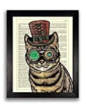 Steampunk Cat Poster Art Print, Steam Punk Gift for Husband, Present for Boyfriend, Cat Illustration Painting Dictionary Artwork, Contemporary Kitchen Wall Decor, 8 x 10 inch Unframed