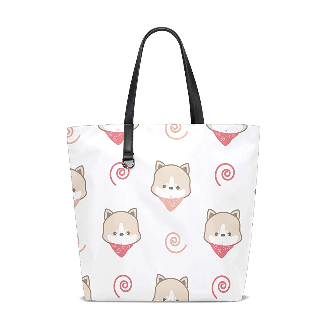 浸すセールスマン酸度トートバッグ かばん ポリエステル+レザー 犬柄 可愛い 両面使える 大容量 通勤通学 メンズ レディース
