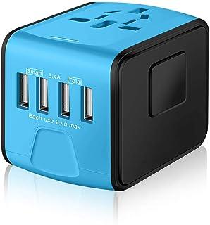YOMYM Universal Travel Power Adapter, European Adapter, Worldwide 2.4A 4-USB International Fast Charger, AC Wall Plug Adap...