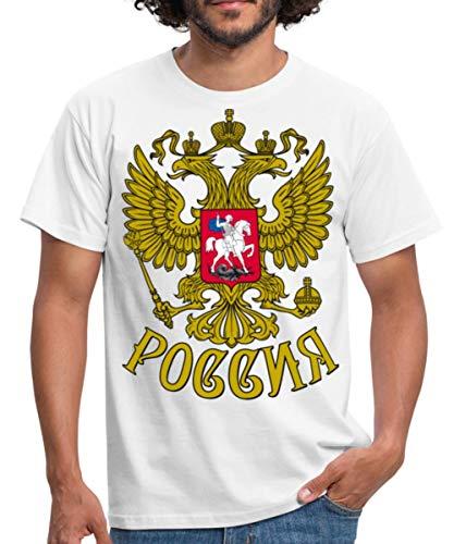 Russland Wappen Männer T-Shirt, L, Weiß