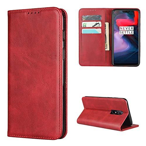 Copmob Hülle Oneplus 6,Premium Flip Leder Brieftasche Handyhülle,[3 Kartensteckplatz][Ständerfunktion][Magnetverschluss],Ledertasche Schutzhülle für Oneplus 6 - Rot