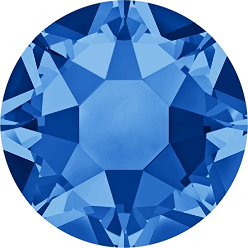 Swarovski 100 Stück 2078 XIRIUS Hotfix, Sapphire (Blau), SS16 (Ø ca. 4 mm), Strasssteine zum Aufbügeln