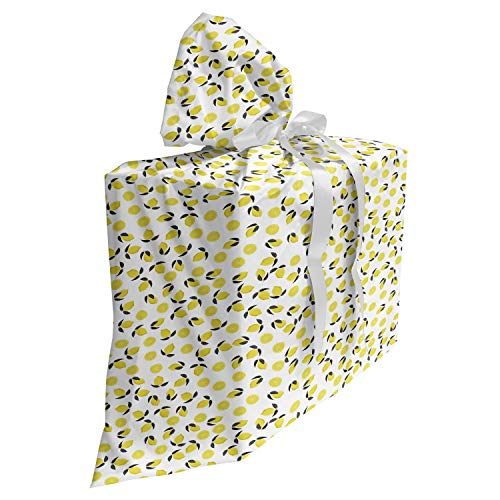 ABAKUHAUS Citroen Cadeautas voor Baby Shower Feestje, Citrus Blossoms Vitamine C, Herbruikbare Stoffen Tas met 3 Linten, 70 cm x 80 cm, Aarde Geel Grijs