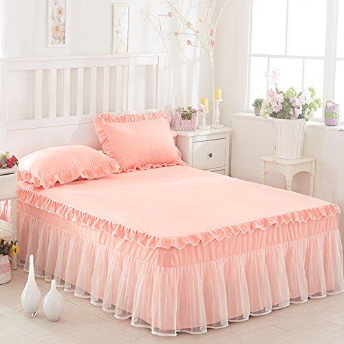 XGXQBS kanten beddengoed passend Esheet, prinses romantisch volant bed rock extra diep frilled stofbestendig dekbed met 2 kussenslopen