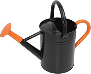 Cesun Metal Watering Can Galvanized Steel Watering Pot with Removable Spray Spout, Movable Upper Handle, Easy to Use for Outdoors Gardening, 1 Gallon-Baked Orange