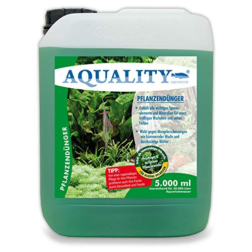 AQUALITY Aquarium Pflanzendünger (Mit lebenswichtigen Spurenelementen und Mineralien für prächtige Pflanzen im Aquarium. Dünger gegen Mangelerscheinungen), Inhalt:5 Liter