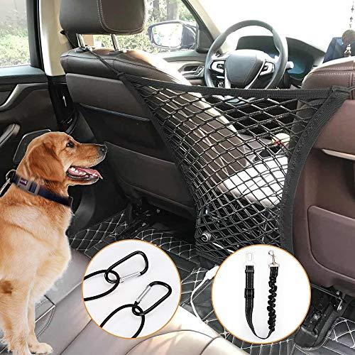 PETLOFT Auto Hund Netz, Dehnbare Haustierbarriere für Fahrzeuge Reise Sicherheit Netz Barriere für Vordersitze mit Sicherheit Leine Aufbewahrungstasche, Universell Geeignet für die Meisten Fahrzeuge