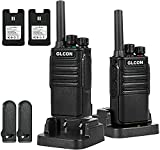 Two Way Radio Walkie Talkies Long Range Rechargeable - GLCON Portable FRS Two-Way Radios with Desktop Charger - Programmable Walky Talky for Adults with Flashlight VOX Monitor Scan (2 Pack)