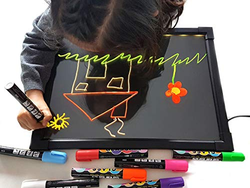 Art Craft Led Drawing Message Board Sensory Illuminated Erasable Neon Light Board Kids Colorful Doodle Scribble Boards Electronic Painting Pad with 8 Liquid Chalk Pens and Remote Control