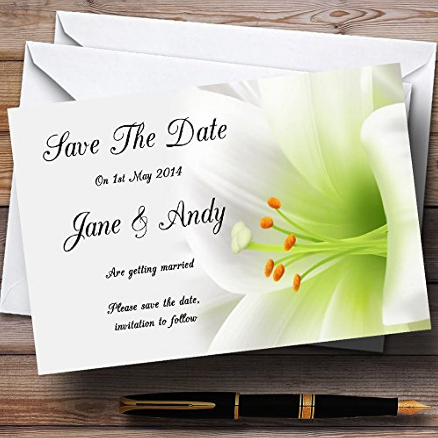 Subtle White Lily Flower Personalised Wedding Stationery Save The Date Cards