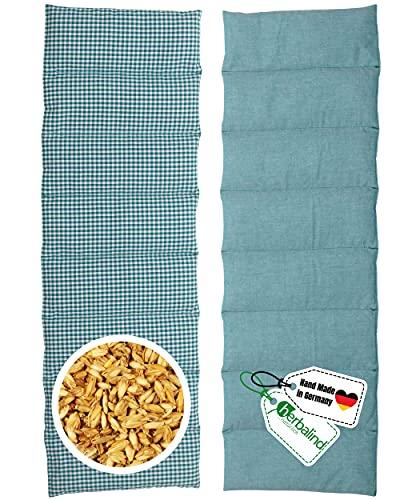 HERBALIND 8-Kammer Wärmekissen Körnerkissen Schulter Nacken 60x20 cm in Karo/petrol - 100% Baumwolle - Getreidekissen mit Bio Roggen- und Weizen Füllung für Mikrowelle - Geschenk für Männer
