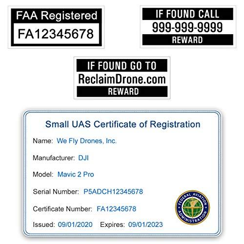 Mini 2 - DJI - FAA Drone Identification Bundle - Labels (2 Sets) + FAA UAS Registration ID Card for Commercial Pilots + Optional Battery Labels