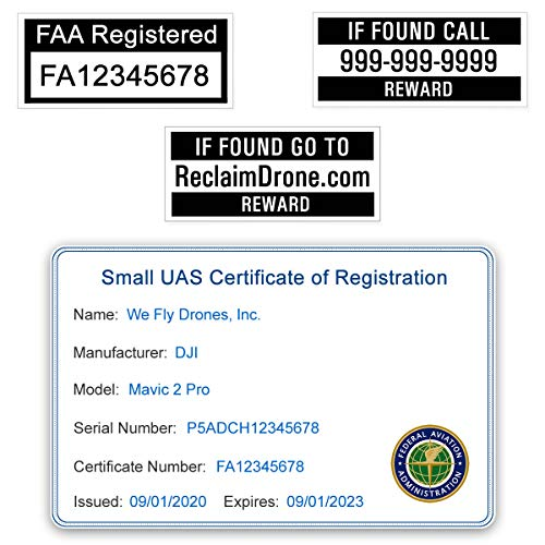 Mini 2 - DJI - FAA Drone Identification Bundle - Labels (2 Sets) + FAA UAS Registration ID Card for Commercial Pilots + Optional Battery Labels