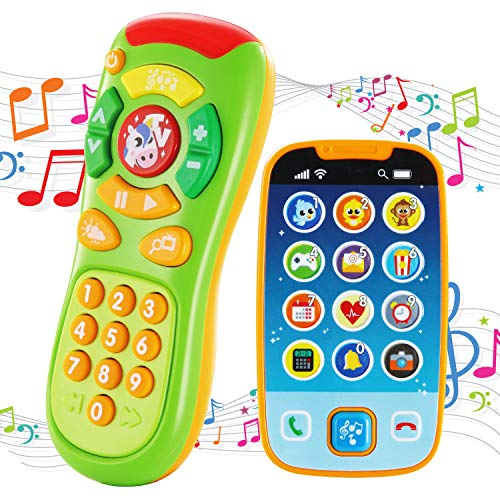 JOYIN Baby Toy Phone, Remote and Smartphone with Music, Fun Learning Musical Toys for Babies, Kids, Boys or Girls, Holiday Stocking Stuffers, Birthday and Easter Gifts