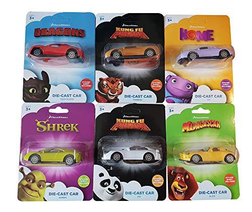 Dreamworks Die-Cast Car Set van 6 modelauto's met stickers om op te plakken, voertuigen voor de films Home, Shrek, Madagascar, Kun Fu Panda en Dragons