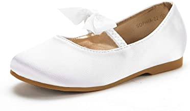 DREAM PAIRS Girl's Mary Jane Front Bow Elastic Strap Ballerina Flat
