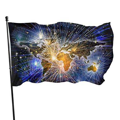 BI HomeDecor Garden Flags,Wor-Ld M-Ap Feuerwerk Gartenflagge, Vertikale Polyester Home Yard Flags Für Home Decoration,150cmx90cm