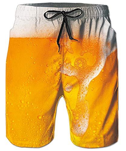 ALISISTER Badehose Herren 3D Neuheit Bier Druck Trocknen Schnell Badeshort Sommer Hawaiian Strand Schwimmhose mit Netzfutter XL