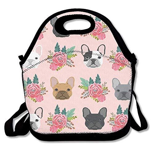 Bolsa de almuerzo con diseño de bulldog francés con correa para niños y adultos, para hombres, mujeres, niños y niñas