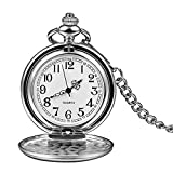 LEYUANA Logotipo Personalizado de Plata de Cuarzo Liso Reloj de Bolsillo Cadena Fob Hombres Mujeres Colgante Steampunk números Romanos Collar de Plata de Moda número de silverarabic