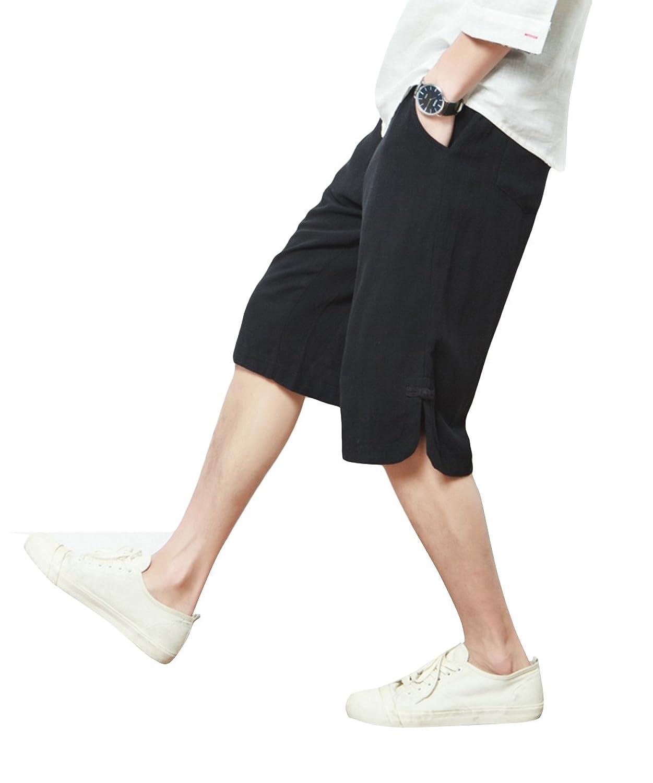 YFFUSHI メンズ サルエルパンツ 無地 ゆったり 亜麻 七分丈 M-5XL 灰色 黒 正規品 ワイドパンツ アラジンパンツ 男女兼用