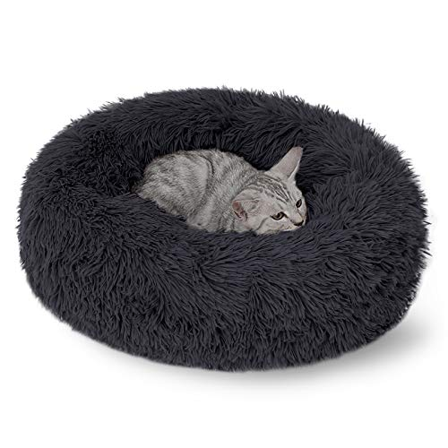 DanceWhale Rund Hundebett Flauschig Katzenbett Waschbar Hundekissen Weiches Plüsch Donut Haustierbett für Katzen Hunde (40cm, Dunkelgrau)