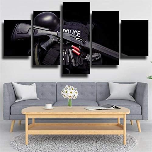 Cuadro Rifle De La Policía XXL Impresiones En Lienzo 5 Piezas Cuadro Moderno En Lienzo Decoración para El Arte De La Pared del Hogar HD Impreso Mural Enmarcado 125X60Cm