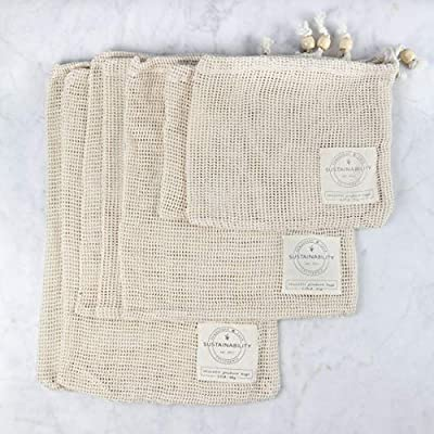 Sandstone & Sage Reusable Produce Bags - Organic Cotton Mesh Zero Waste Biodegradable Grocery Bag Superior Quality Double Stitched with Drawstrings Set of 7 Small - Medium - Large with Tare Weights