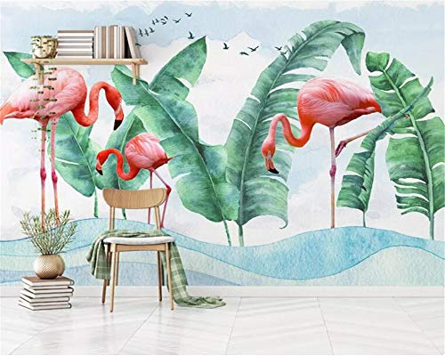 Behang, aanpassen van 3D Wallpaper Flamingo Banana Leaf Wave Dier Serie Hd Print muur Decoratie Art Poster Afbeelding grote zijde muurschilderijen voor kinderkamer kleuterschool speling ruimte ingericht 260cm(H)×420cm(W) zoals getoond