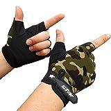 RETUROM Hombres antideslizante Ciclismo bicicleta gimnasio Deportes medio dedo guantes (XL, Camuflaje)