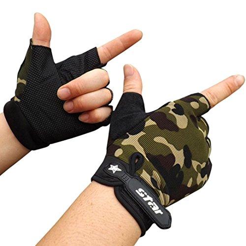 RETUROM Hombres antideslizante Ciclismo bicicleta gimnasio Deportes medio dedo guantes (M, Camuflaje)