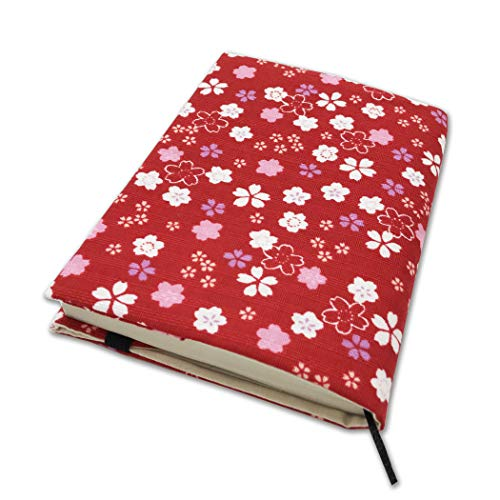 文庫本カバー ブックカバー 文庫本 A6サイズ 調整可能 読書 日本製 しおり付き 和雑貨 おしゃれ プレゼント (桜レッド)