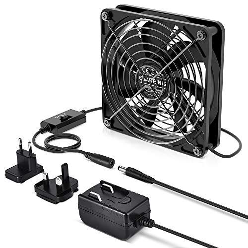 ELUTENG Lüfter 120mm mit 3 einstellbaren Windgeschwindigkeiten USB Ventilator 12V1A Be Quiet Gehäuselüfter mit Netzteil Kompatibel für Computer/PS4/TV Box/AV Schrank/Router