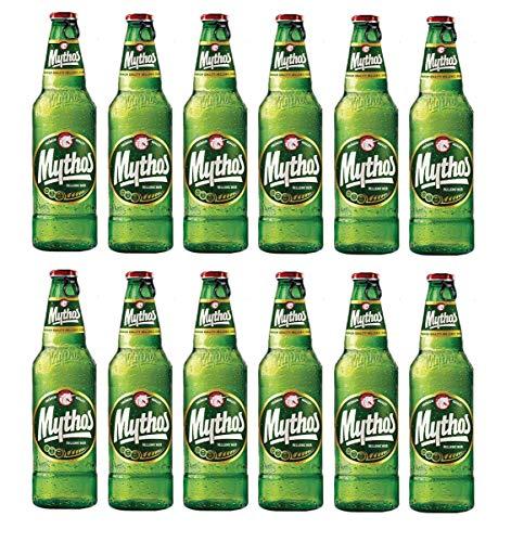 MYTHOS Bier 330ml 1-24 Flaschen inkl. Einwegpfand + 10ml Sachet Olivenöl - griechisches Original Lagerbier Hellenic Beer 0,33 l Olympic Brewery (12)