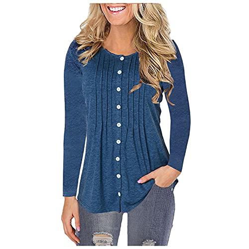 Lalaluka Camiseta de manga larga para mujer, blusa de un solo color, botones fruncidos, cuello redondo para mujer, túnica, suéter, camisa., azul, XXXL