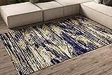 Oedim Alfombra Imitación Pintura Azul y Amarilla para Habitaciones PVC | 300 x 200 cm | Moqueta PVC | Suelo vinílico | Decoración del Hogar | Suelo Sintasol | Suelo de Protección |