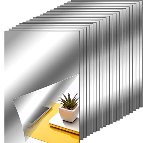 20 Stück Spiegel Selbstklebend Spiegelblätter Flexibler Nicht Glas Spiegel Kunststoff-Spiegel Selbstklebende Fliesen Spiegel Wandaufkleber, 23 x 15 cm