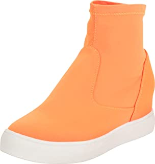 Cambridge Select Women's Stretch Sock Chunky Low Hidden Wedge Heel Fashion Sneaker