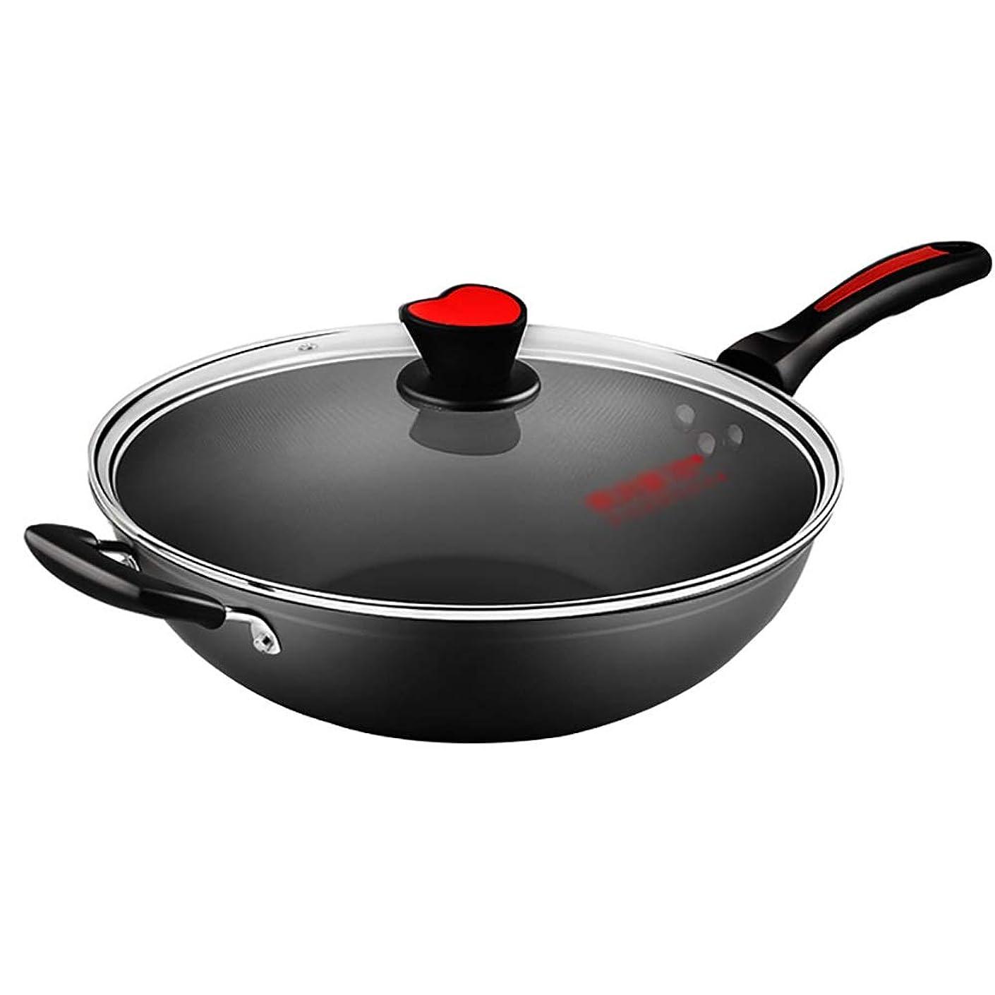 早めるで出来ているコミット中華鍋の焦げ付き防止の鍋鍋32 / 34CMの家の無煙鍋、透明なふた、ガスこんろ、黒 (サイズ さいず : Diameter 34CM)