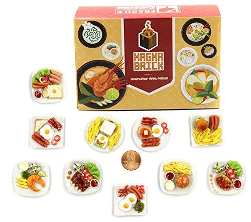 Magma Brick 10 Plato de Desayuno - Comida en Miniatura, Comida diminuta para casa de muñecas Decorativa, Escala de Diorama 1:12, 1/12
