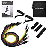 TOPELEK Exercise Resistance Bands Set Up to 100LBS, 5 Pcs Training Fitness Tubes with Handle Door Anchor, Elastic bands for Gym Weight Exercise Men and Women