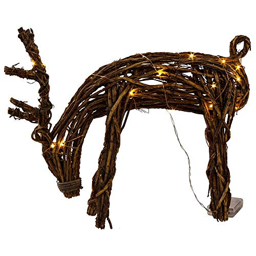 Tag Reindeer Dasher Grapevine Set of 2 Lighted Battery Operated Light Up Led Holiday Sculpture Natural Vines Home Office Decoration Indoor Porch Brown Decor